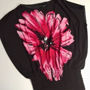 Pink Flower Top Black Size Medim